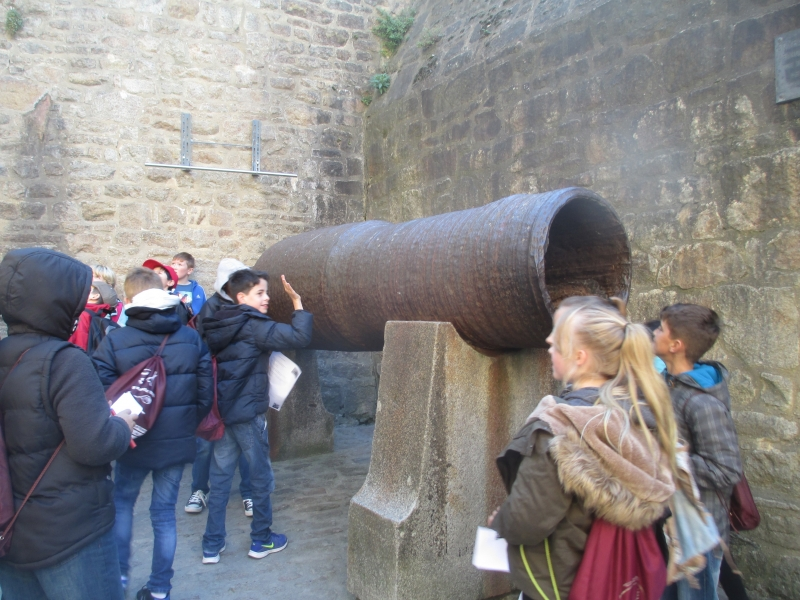 The canon at the entrance to Mont St. Michel.